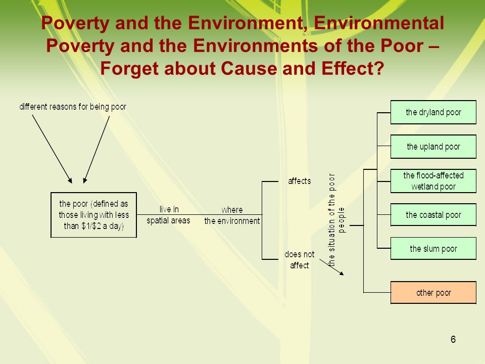 6 Poverty and the Environment, Environmental Poverty and the Environments of the Poor – Forget about Cause and Effect?