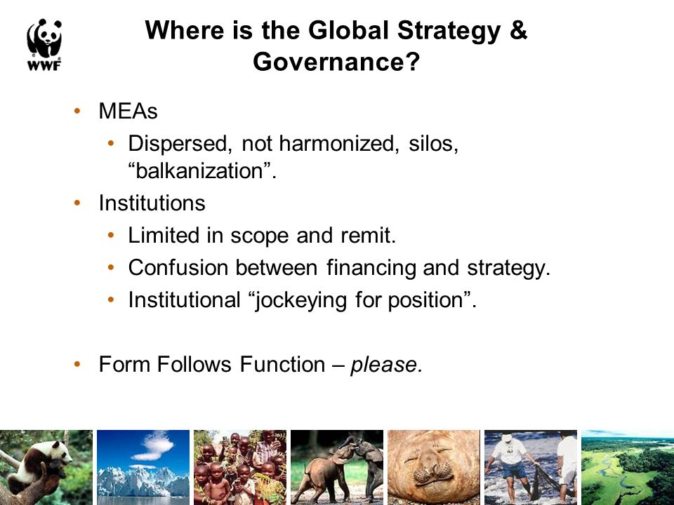 Where is the Global Strategy & Governance. MEAs Dispersed, not harmonized, silos, balkanization.