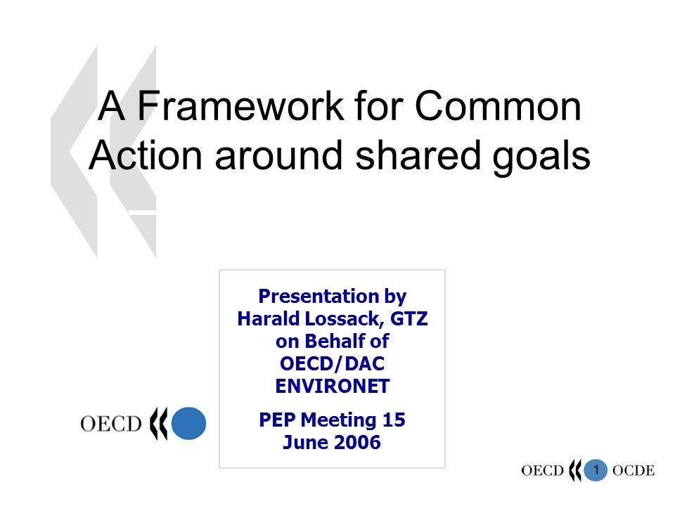 1 A Framework for Common Action around shared goals Presentation by Harald Lossack, GTZ on Behalf of OECD/DAC ENVIRONET PEP Meeting 15 June 2006