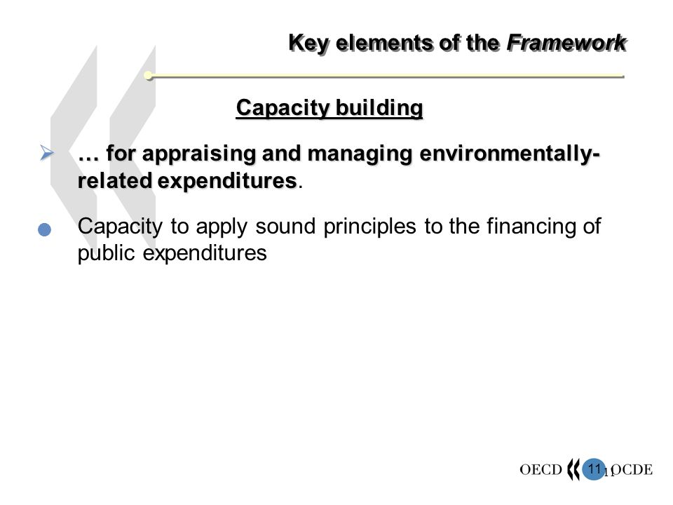 11 Key elements of the Framework Capacity building … for appraising and managing environmentally- related expenditures … for appraising and managing environmentally- related expenditures.