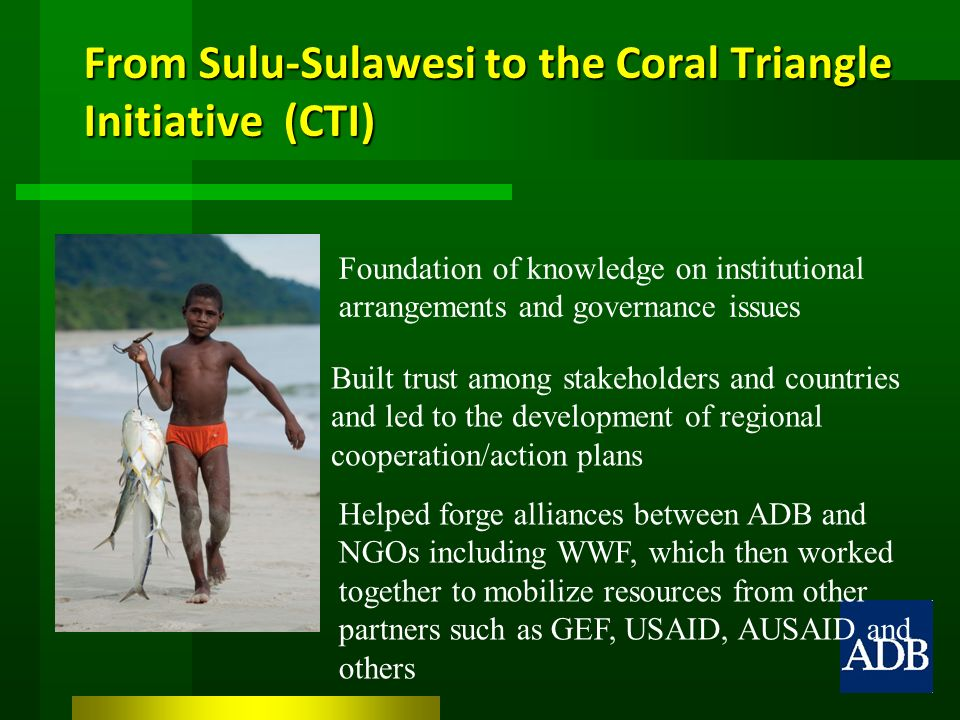 From Sulu-Sulawesi to the Coral Triangle Initiative (CTI) Foundation of knowledge on institutional arrangements and governance issues Built trust among stakeholders and countries and led to the development of regional cooperation/action plans Helped forge alliances between ADB and NGOs including WWF, which then worked together to mobilize resources from other partners such as GEF, USAID, AUSAID and others