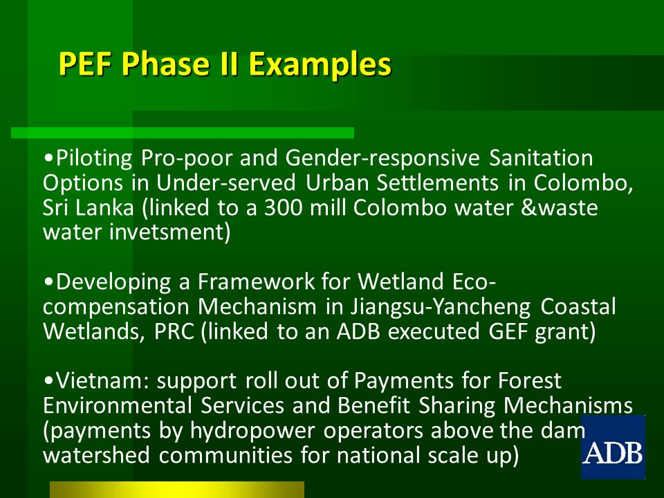 PEF Phase II Examples Piloting Pro-poor and Gender-responsive Sanitation Options in Under-served Urban Settlements in Colombo, Sri Lanka (linked to a 300 mill Colombo water &waste water invetsment) Developing a Framework for Wetland Eco- compensation Mechanism in Jiangsu-Yancheng Coastal Wetlands, PRC (linked to an ADB executed GEF grant) Vietnam: support roll out of Payments for Forest Environmental Services and Benefit Sharing Mechanisms (payments by hydropower operators above the dam watershed communities for national scale up)