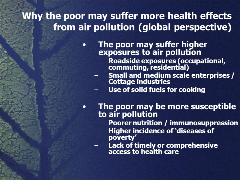 Why the poor may suffer more health effects from air pollution (global perspective) The poor may suffer higher exposures to air pollution –Roadside ex