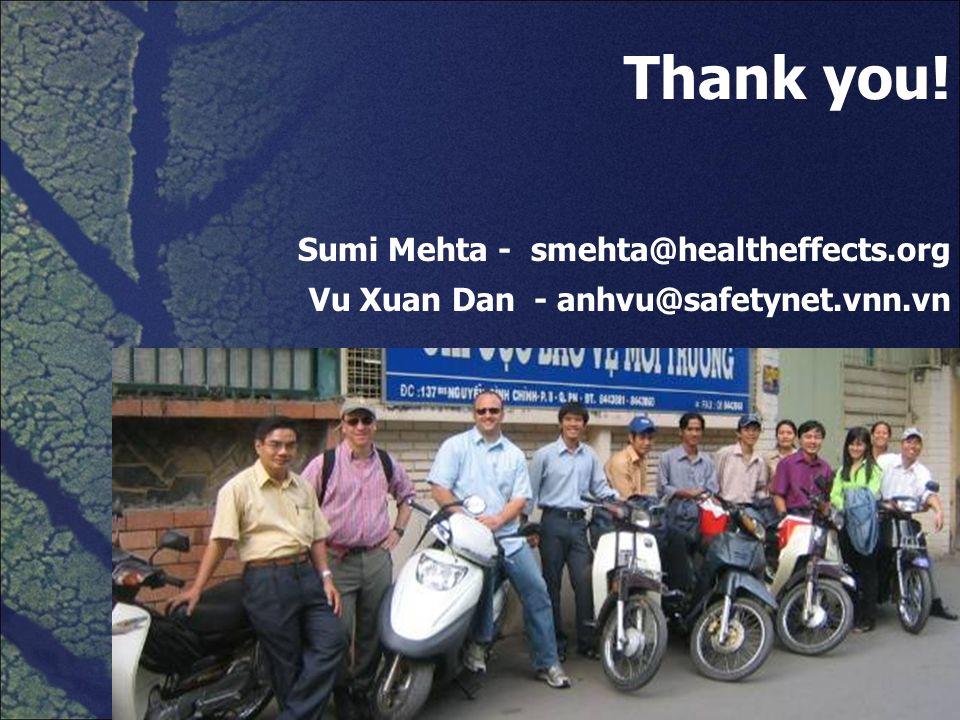 Thank you! Sumi Mehta - smehta@healtheffects.org Vu Xuan Dan - anhvu@safetynet.vnn.vn