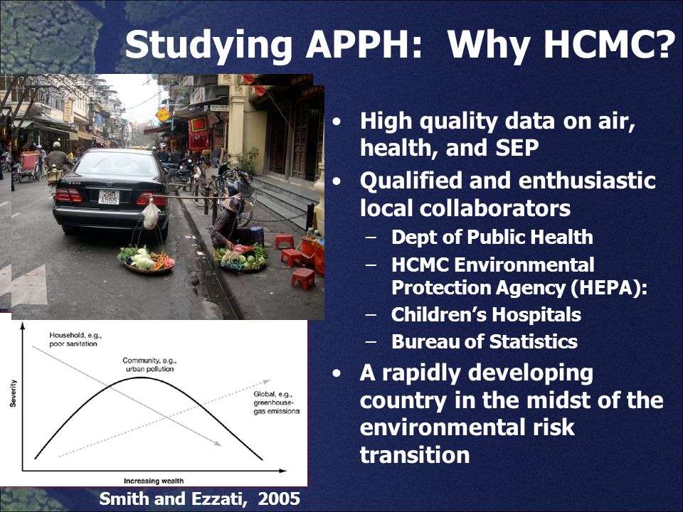 Studying APPH: Why HCMC? High quality data on air, health, and SEP Qualified and enthusiastic local collaborators –Dept of Public Health –HCMC Environ