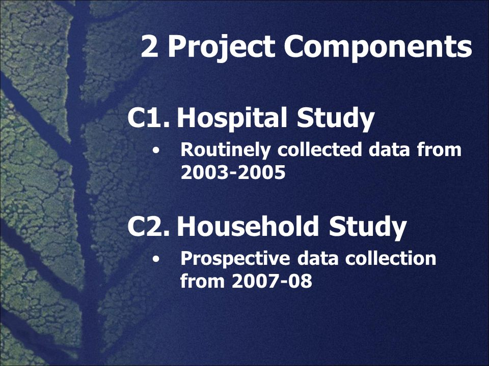 2 Project Components C1.Hospital Study Routinely collected data from 2003-2005 C2.Household Study Prospective data collection from 2007-08