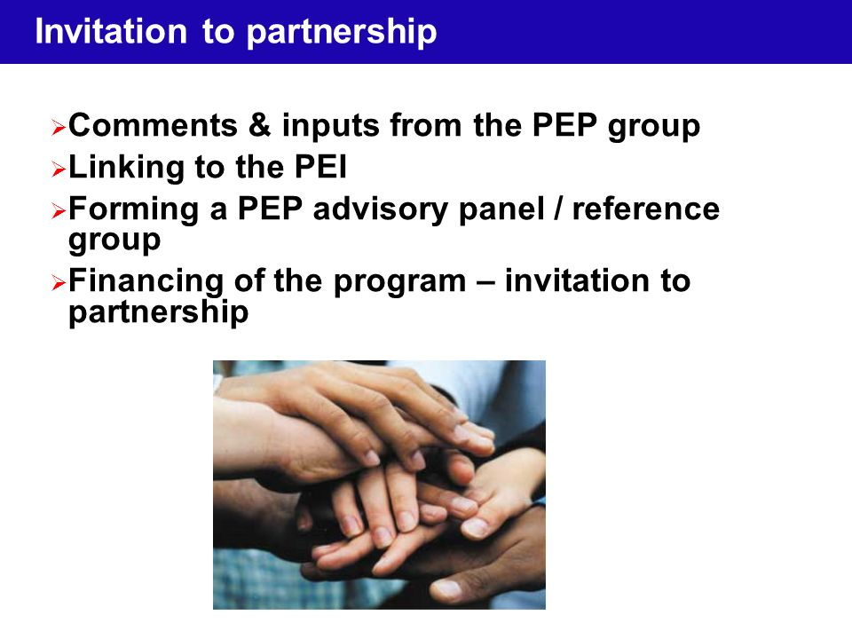 Invitation to partnership Comments & inputs from the PEP group Linking to the PEI Forming a PEP advisory panel / reference group Financing of the program – invitation to partnership