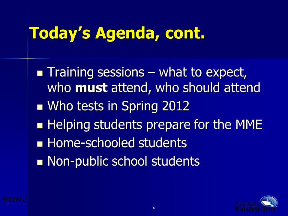 4 4 Todays Agenda, cont.