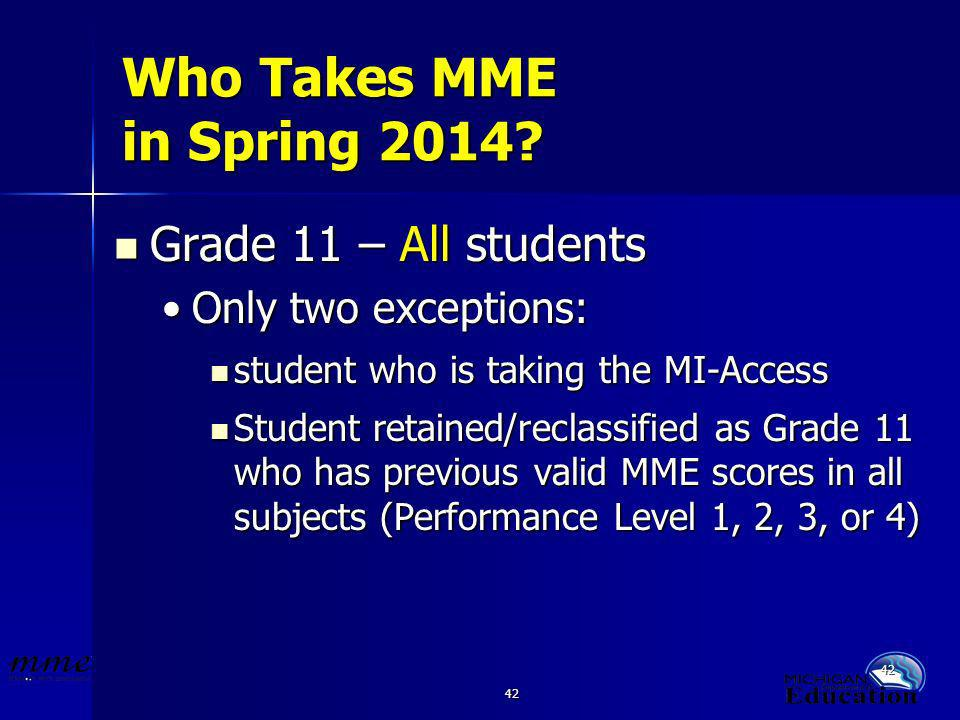 42 Who Takes MME in Spring 2014.