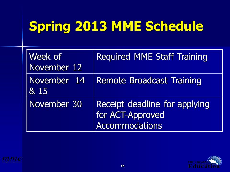 66 Spring 2013 MME Schedule Week of November 12 Required MME Staff Training November 14 & 15 Remote Broadcast Training November 30 Receipt deadline fo