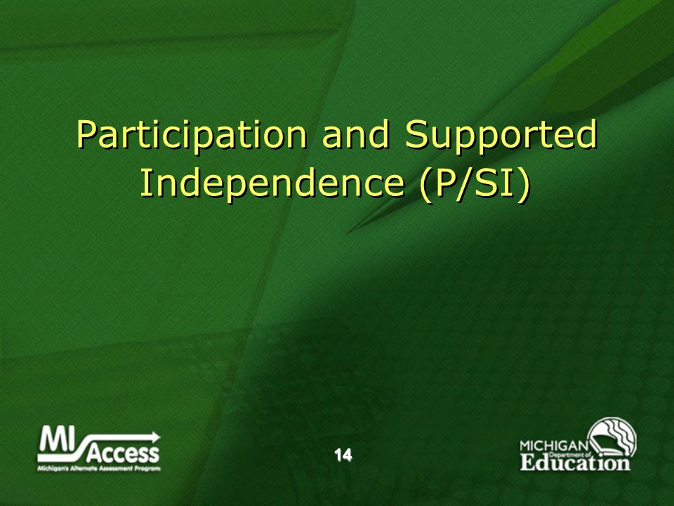 14 Participation and Supported Independence (P/SI)