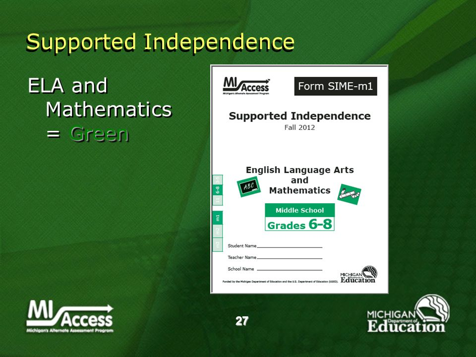 27 Green ELA and Mathematics = Green Supported Independence