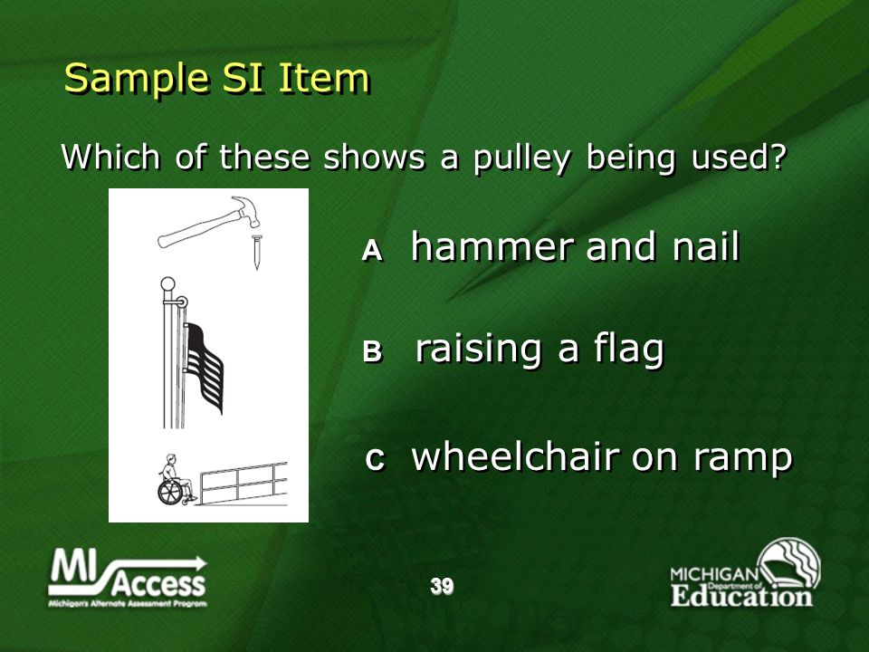 39 Sample SI Item Which of these shows a pulley being used.