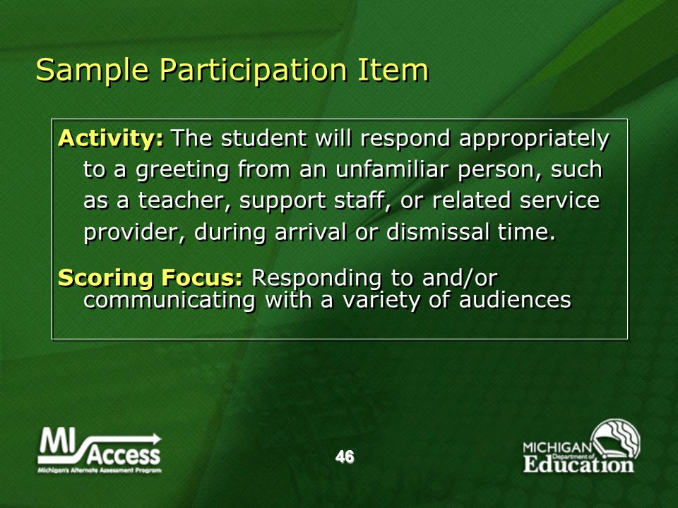46 Sample Participation Item Activity: The student will respond appropriately to a greeting from an unfamiliar person, such as a teacher, support staff, or related service provider, during arrival or dismissal time.