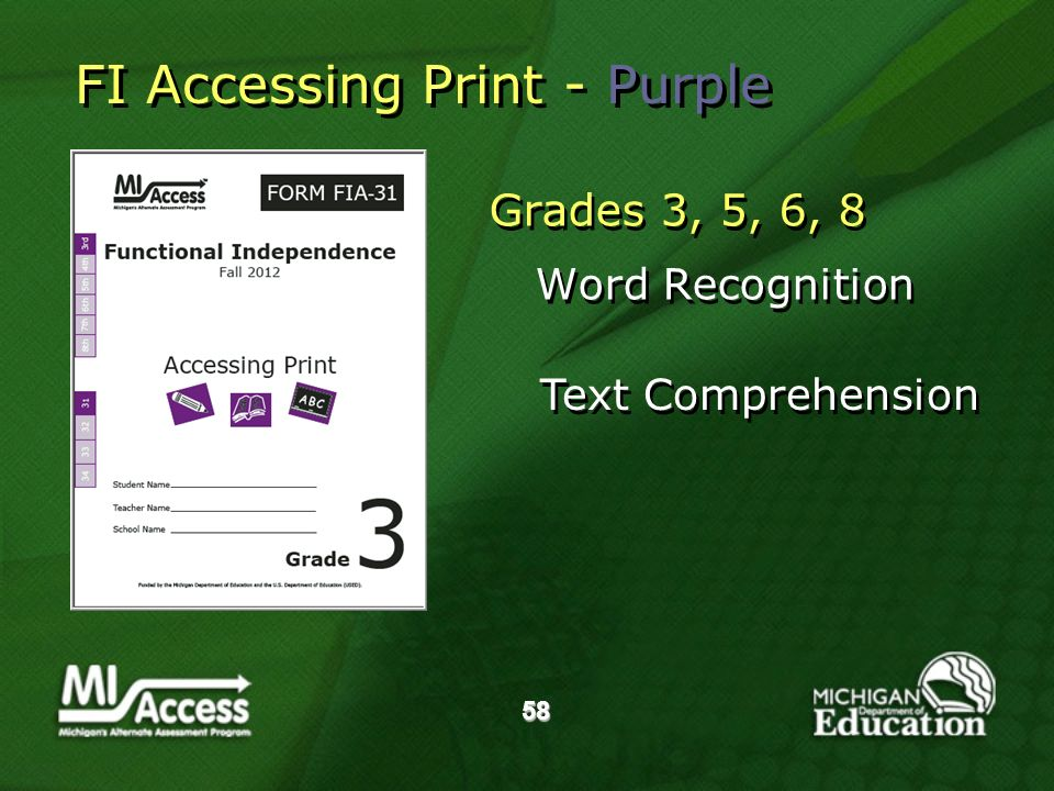 58 Grades 3, 5, 6, 8 Word Recognition Grades 3, 5, 6, 8 Word Recognition Text Comprehension FI Accessing Print - Purple