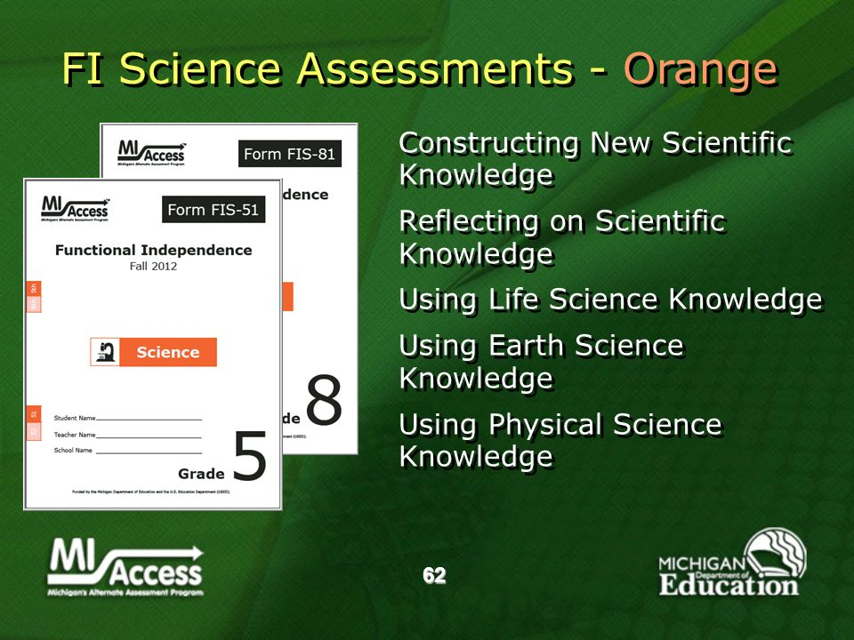 62 Constructing New Scientific Knowledge Reflecting on Scientific Knowledge Using Life Science Knowledge Using Earth Science Knowledge Using Physical Science Knowledge Constructing New Scientific Knowledge Reflecting on Scientific Knowledge Using Life Science Knowledge Using Earth Science Knowledge Using Physical Science Knowledge FI Science Assessments - Orange