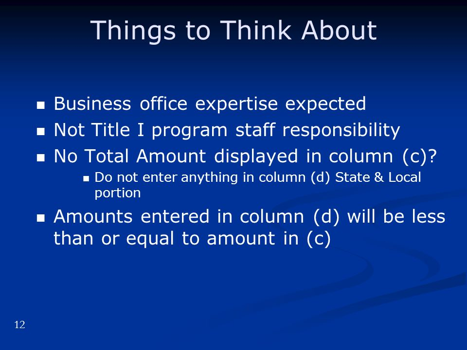 Things to Think About Business office expertise expected Not Title I program staff responsibility No Total Amount displayed in column (c).