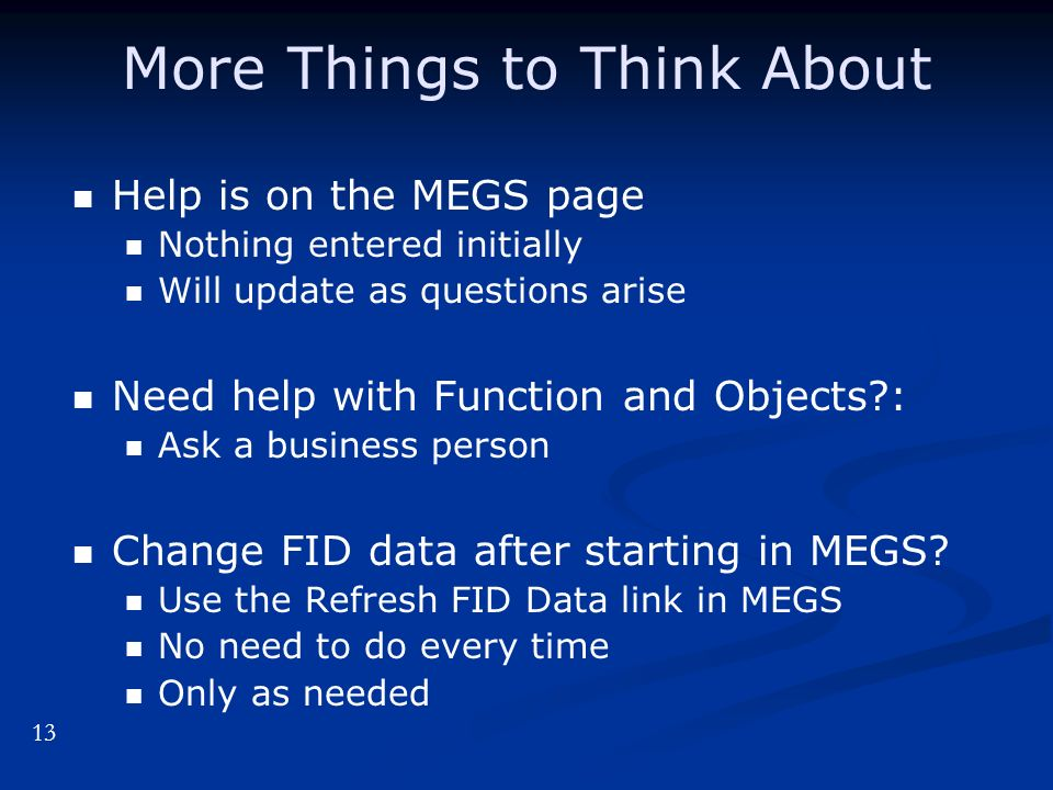 More Things to Think About Help is on the MEGS page Nothing entered initially Will update as questions arise Need help with Function and Objects : Ask a business person Change FID data after starting in MEGS.