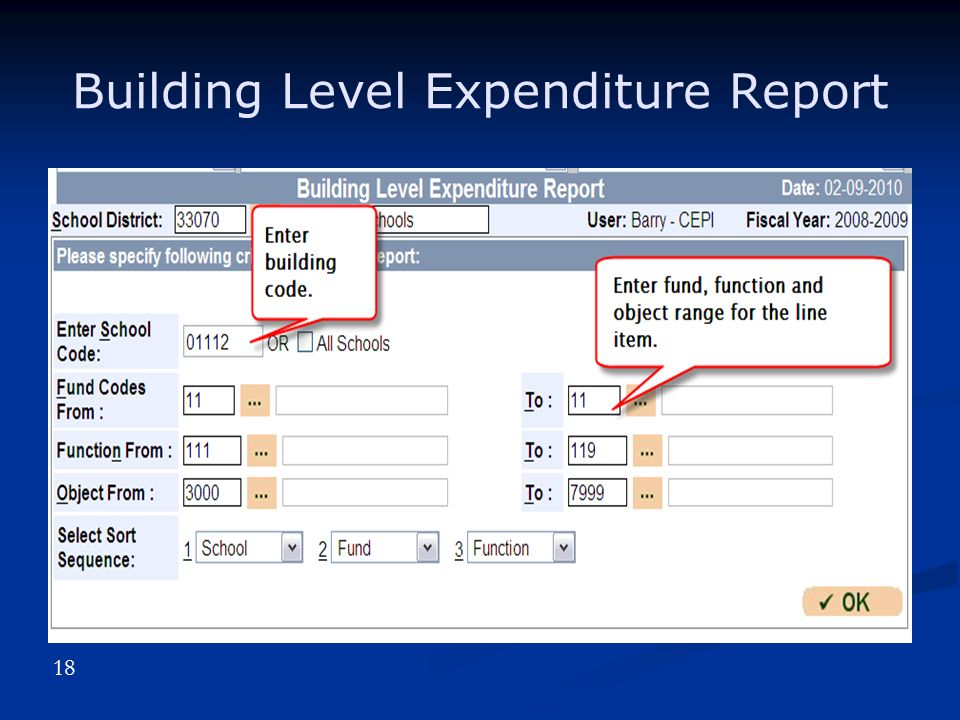 Building Level Expenditure Report 18