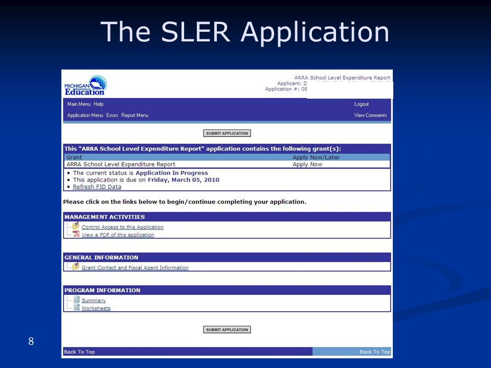 The SLER Application 8