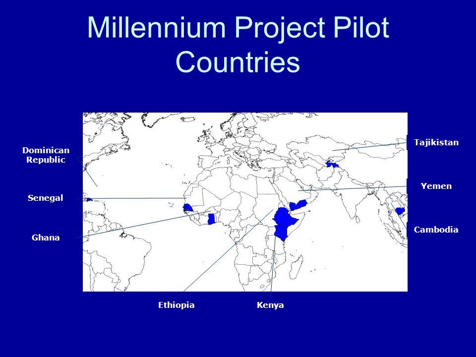 Millennium Project Pilot Countries Cambodia Tajikistan Yemen EthiopiaKenya Senegal Ghana Dominican Republic
