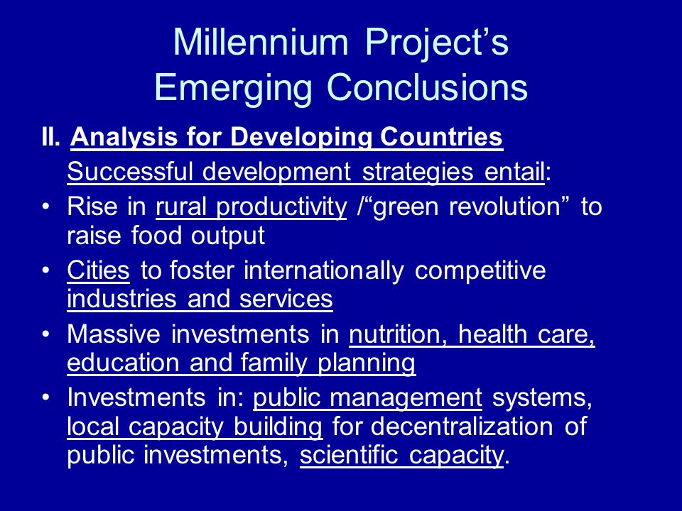 Millennium Projects Emerging Conclusions II.