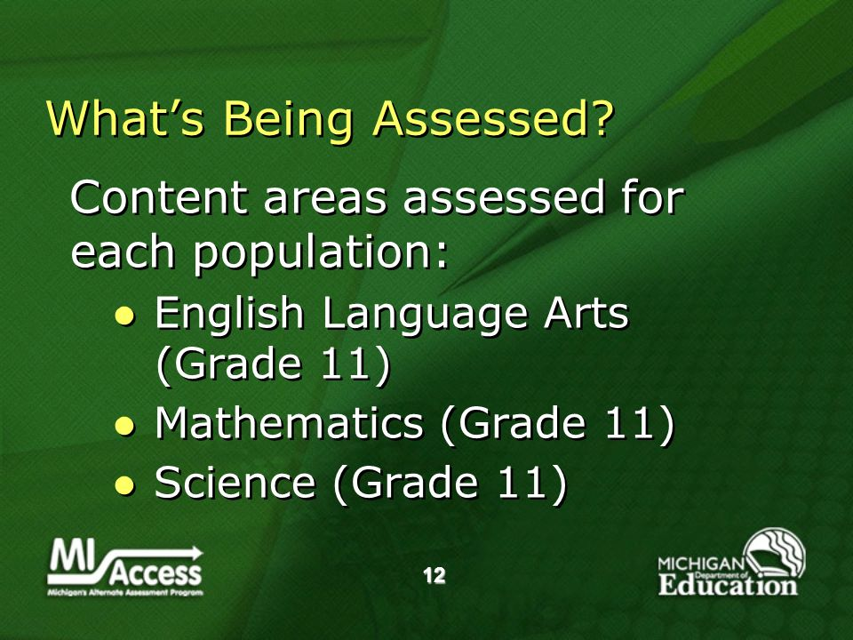 12 Whats Being Assessed.