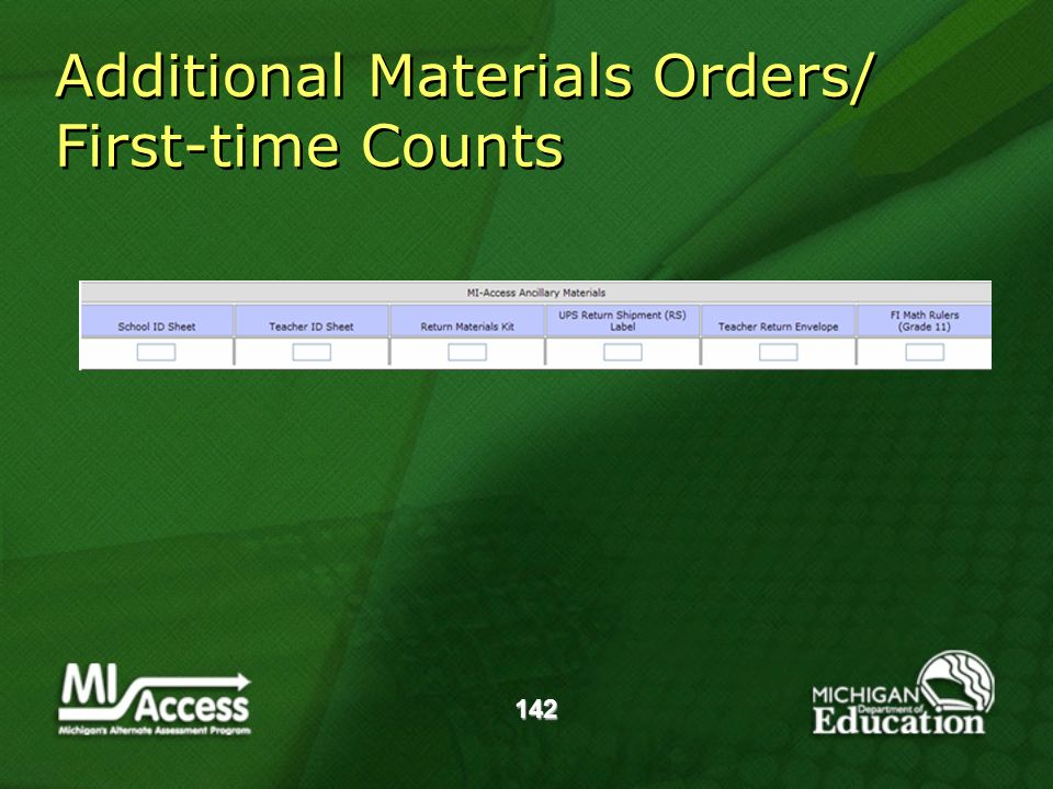 142 Additional Materials Orders/ First-time Counts