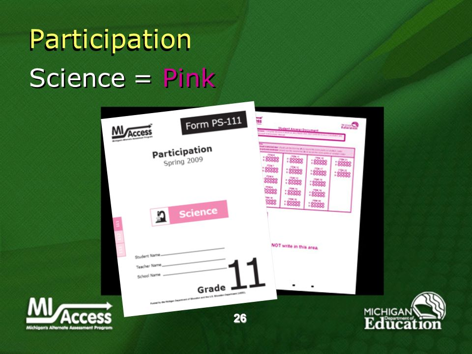 26 Science = Pink Participation