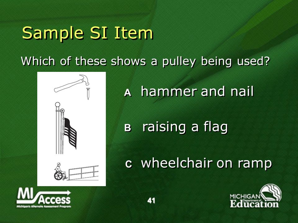 41 Sample SI Item Which of these shows a pulley being used.
