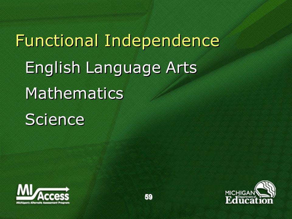 59 Functional Independence English Language Arts Mathematics Science English Language Arts Mathematics Science
