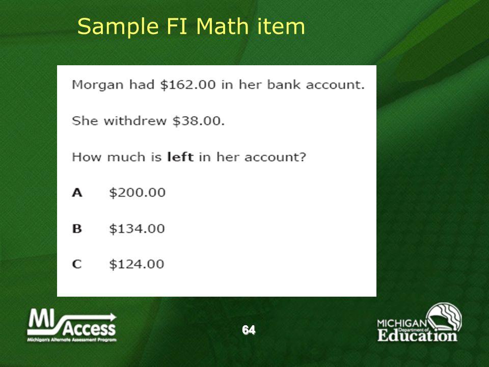 64 Sample FI Math item