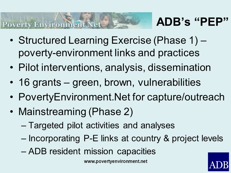www.povertyenvironment.net ADBs PEP Structured Learning Exercise (Phase 1) – poverty-environment links and practices Pilot interventions, analysis, dissemination 16 grants – green, brown, vulnerabilities PovertyEnvironment.Net for capture/outreach Mainstreaming (Phase 2) –Targeted pilot activities and analyses –Incorporating P-E links at country & project levels –ADB resident mission capacities