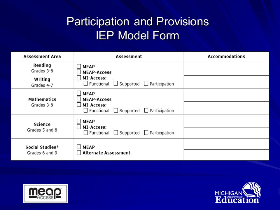 Participation and Provisions IEP Model Form