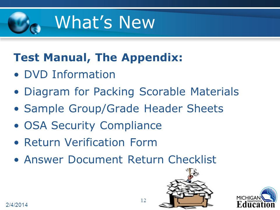 Whats New Test Manual, The Appendix: DVD Information Diagram for Packing Scorable Materials Sample Group/Grade Header Sheets OSA Security Compliance Return Verification Form Answer Document Return Checklist 2/4/2014 12