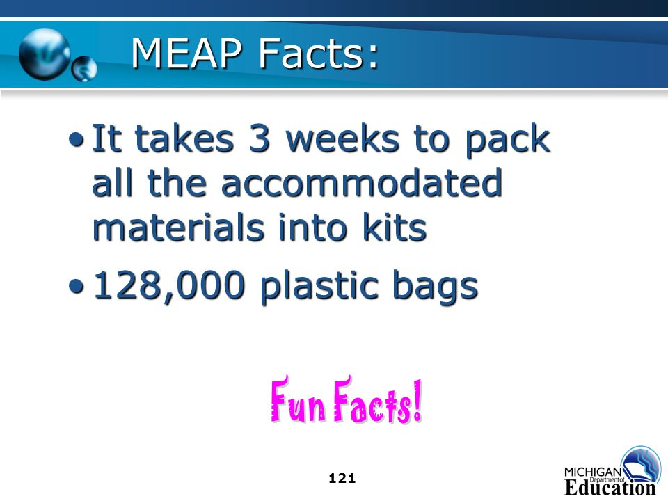 121 MEAP Facts: It takes 3 weeks to pack all the accommodated materials into kitsIt takes 3 weeks to pack all the accommodated materials into kits 128,000 plastic bags128,000 plastic bags