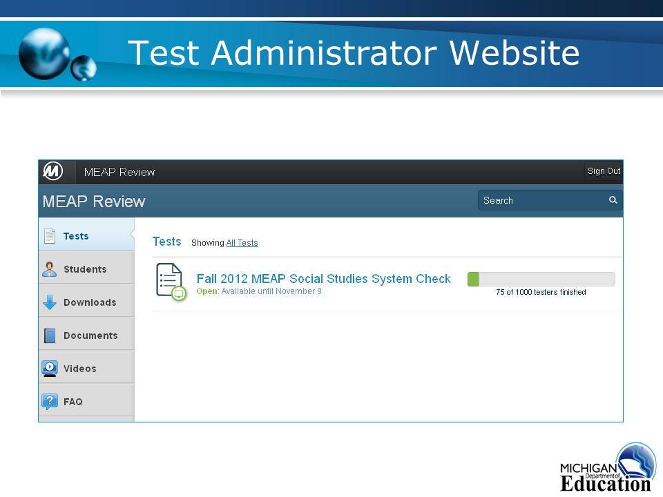 Test Administrator Website