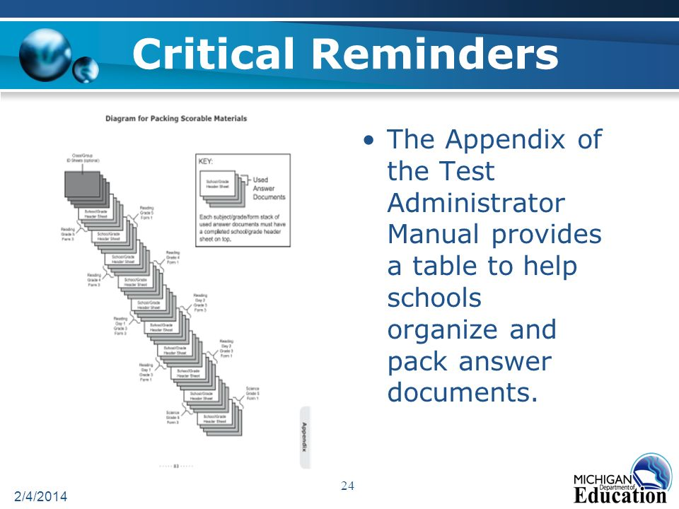 Critical Reminders The Appendix of the Test Administrator Manual provides a table to help schools organize and pack answer documents.