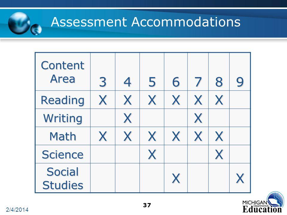 2/4/2014 37 Assessment Accommodations Content Area 3456789 ReadingXXXXXX WritingXX MathXXXXXX ScienceXX Social Studies XX