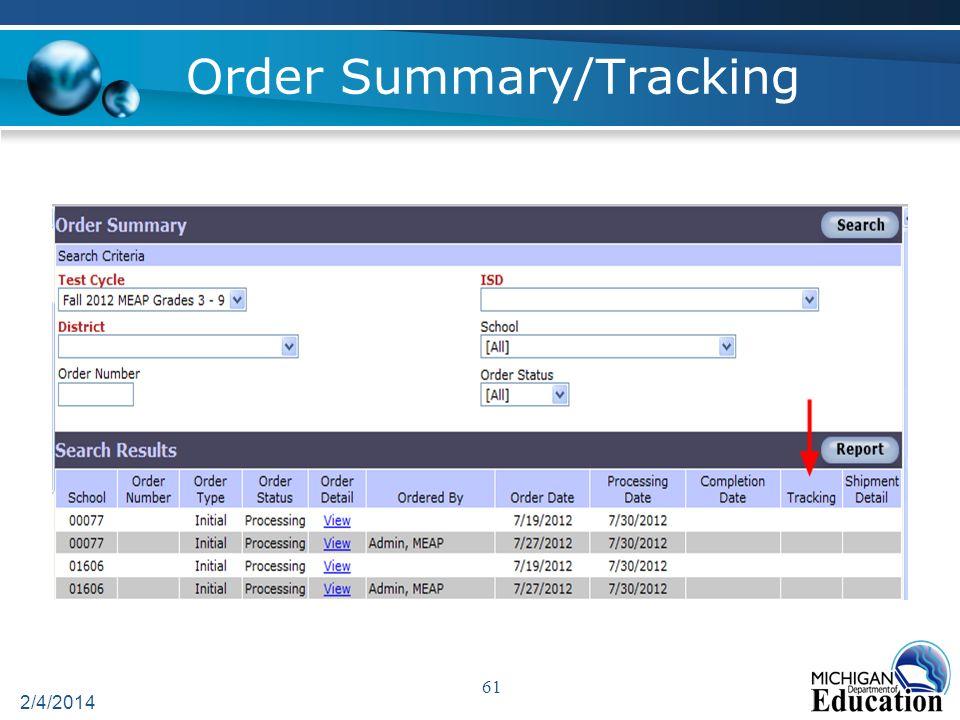Order Summary/Tracking 2/4/2014 61