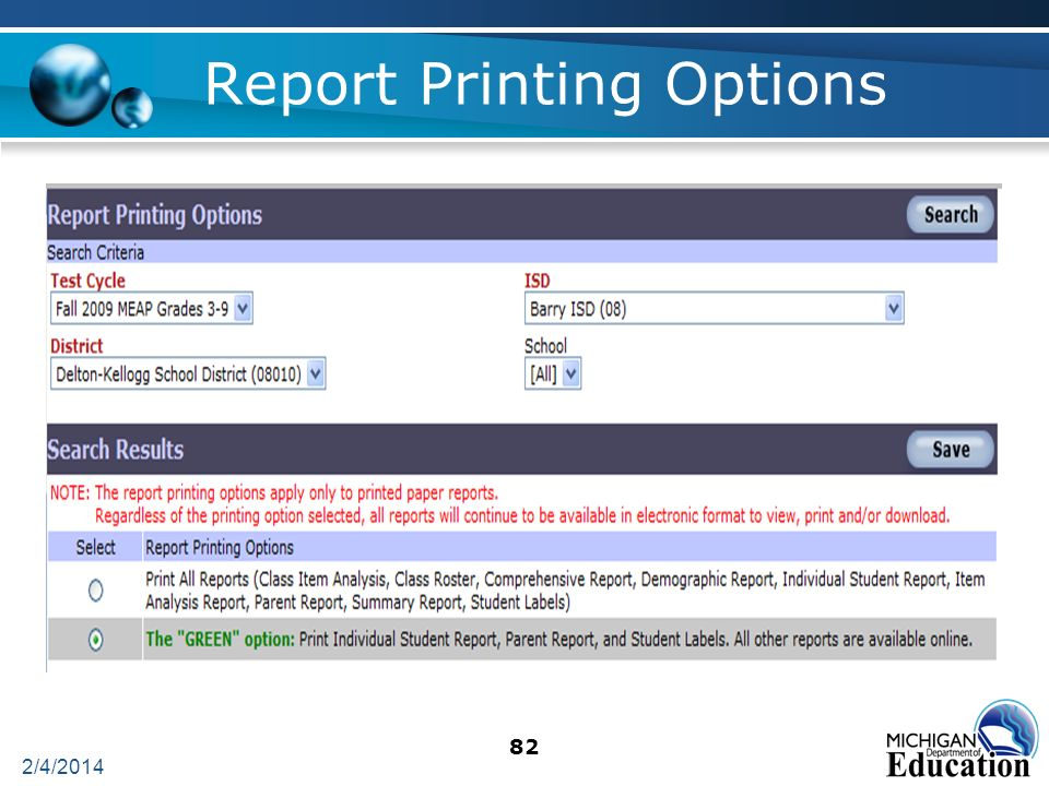 82 Report Printing Options 2/4/2014