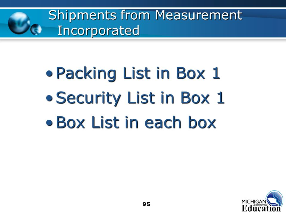 95 Packing List in Box 1Packing List in Box 1 Security List in Box 1Security List in Box 1 Box List in each boxBox List in each box Shipments from Measurement Incorporated
