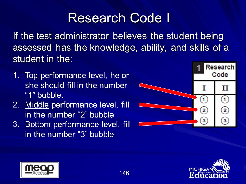 146 If the test administrator believes the student being assessed has the knowledge, ability, and skills of a student in the: Research Code I 1.Top performance level, he or she should fill in the number 1 bubble.