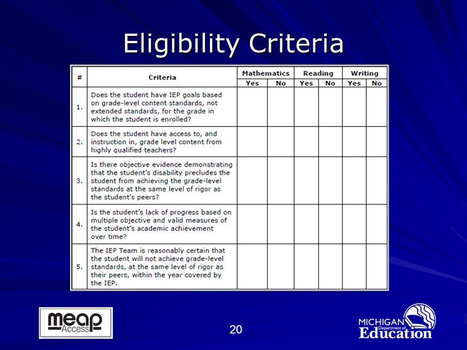 20 Eligibility Criteria