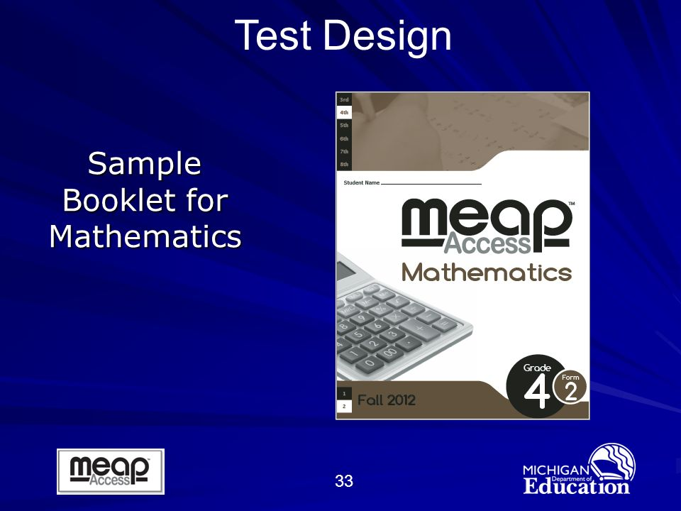 33 Sample Booklet for Mathematics Test Design