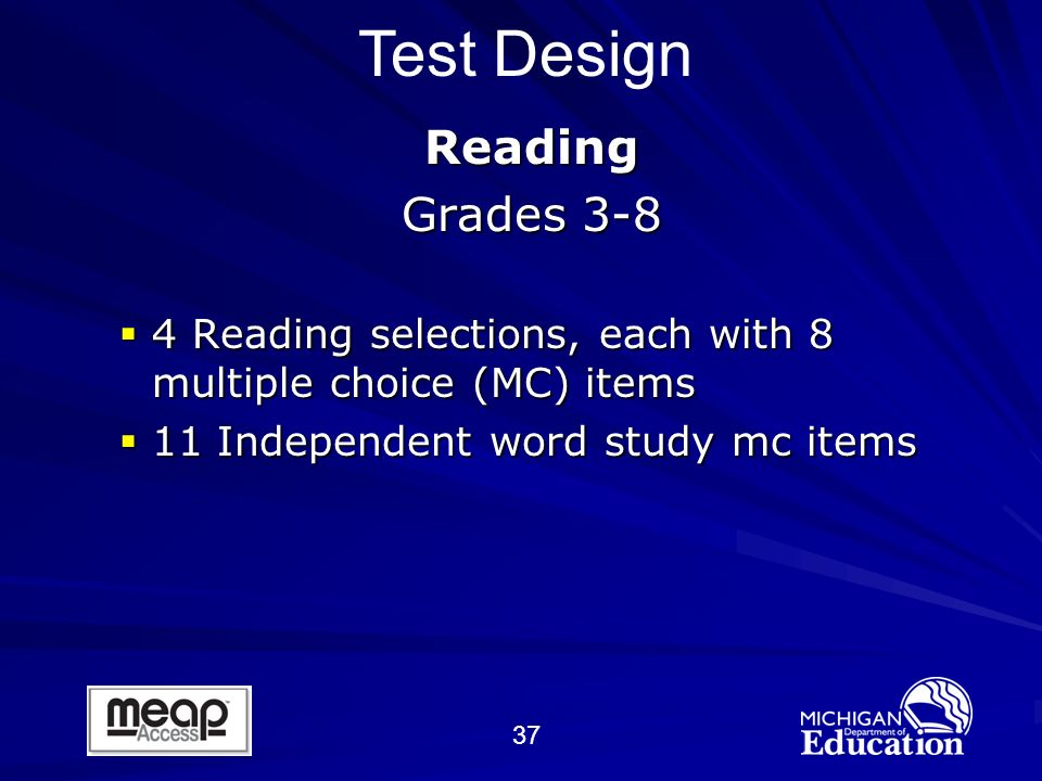 37 Reading Grades 3-8 4 Reading selections, each with 8 multiple choice (MC) items 4 Reading selections, each with 8 multiple choice (MC) items 11 Independent word study mc items 11 Independent word study mc items Test Design