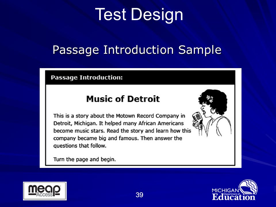39 Passage Introduction Sample Test Design
