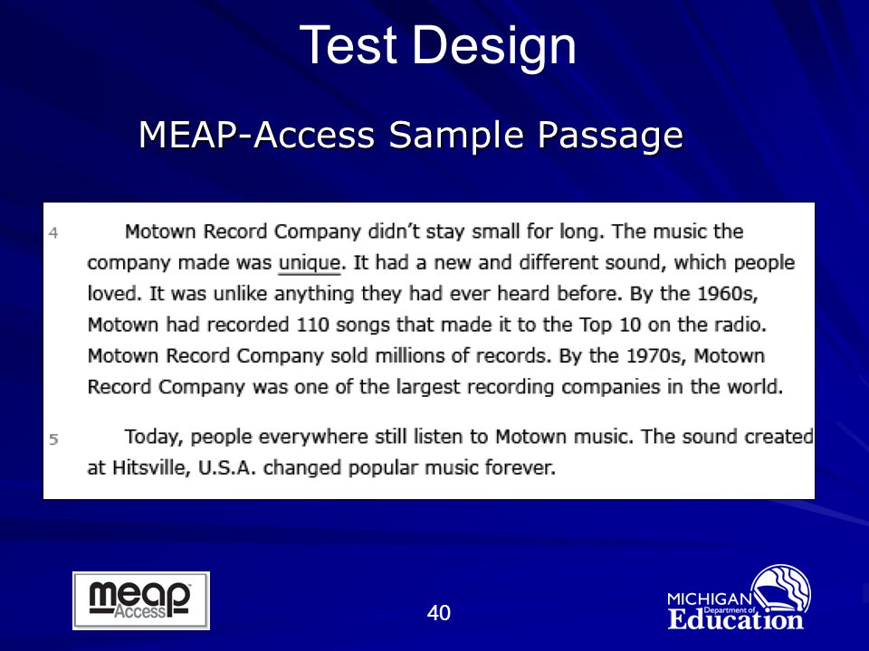 40 MEAP-Access Sample Passage Test Design