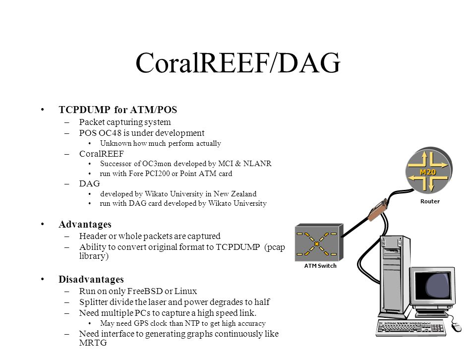 ATM Switch CoralREEF/DAG TCPDUMP for ATM/POS –Packet capturing system –POS OC48 is under development Unknown how much perform actually –CoralREEF Successor of OC3mon developed by MCI & NLANR run with Fore PCI200 or Point ATM card –DAG developed by Wikato University in New Zealand run with DAG card developed by Wikato University Advantages –Header or whole packets are captured –Ability to convert original format to TCPDUMP (pcap library) Disadvantages –Run on only FreeBSD or Linux –Splitter divide the laser and power degrades to half –Need multiple PCs to capture a high speed link.