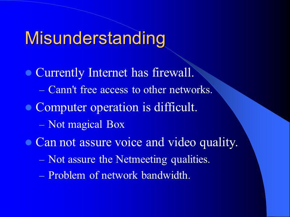 Misunderstanding Currently Internet has firewall. – Cann t free access to other networks.